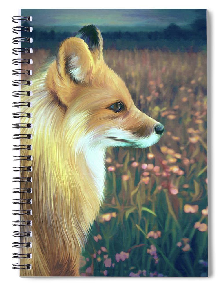 Grass Spiral Notebook featuring the digital art Illustration Of Red Fox by Illustration By Shannon Posedenti