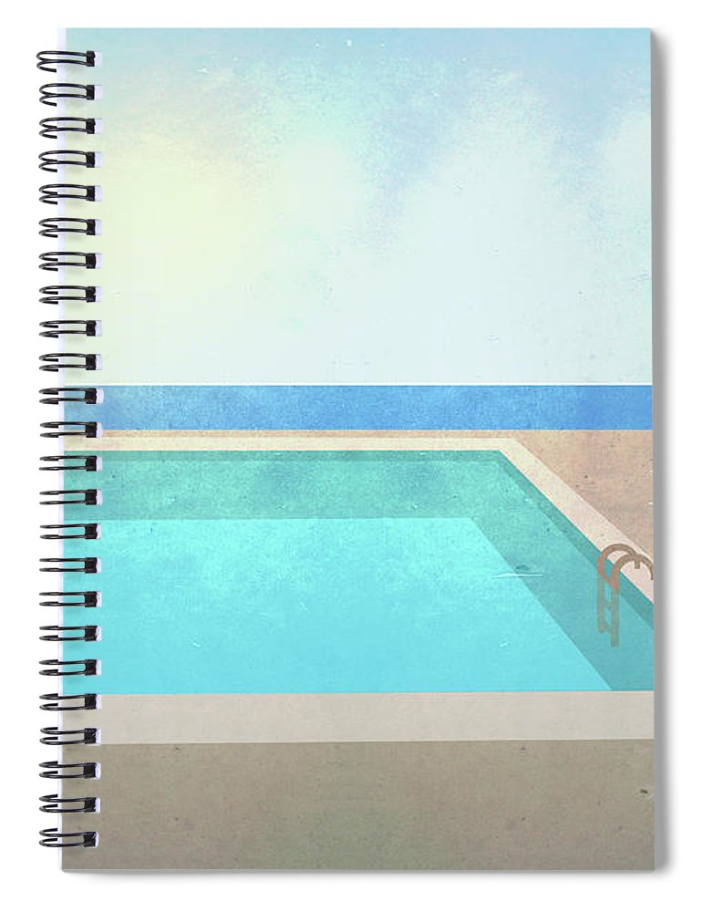 Swimming Pool Spiral Notebook featuring the digital art Illustration Of Swimming Pool On Sunny by Malte Mueller