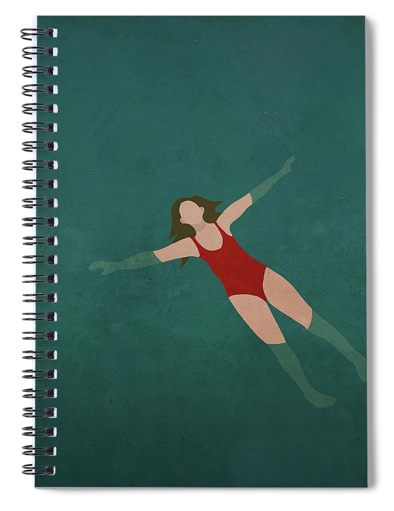 Tranquility Spiral Notebook featuring the digital art Illustration Of Woman Swimming In Water by Malte Mueller