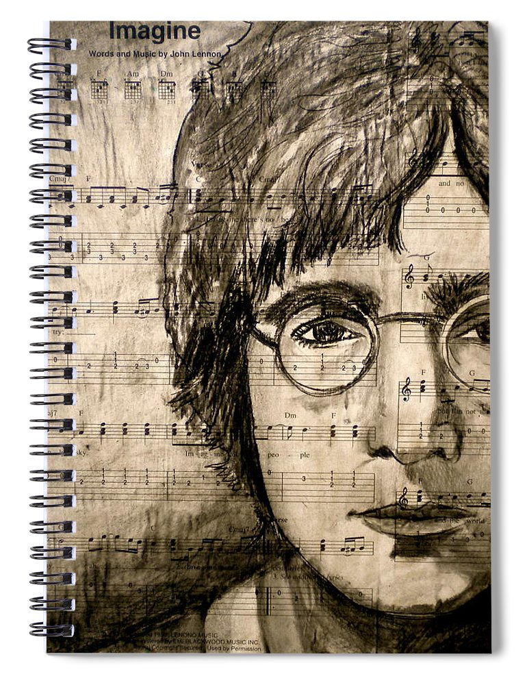 Imagine Spiral Notebook featuring the drawing Imagine by Debi Starr