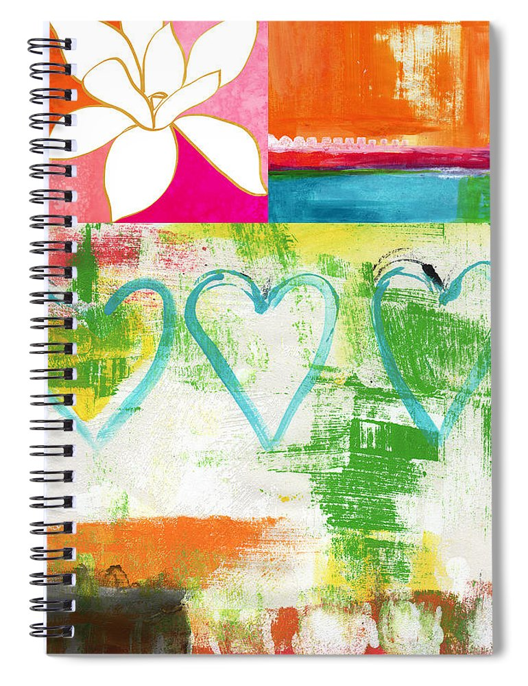 Magnolia Spiral Notebook featuring the painting In Bloom- colorful heart and flower art by Linda Woods