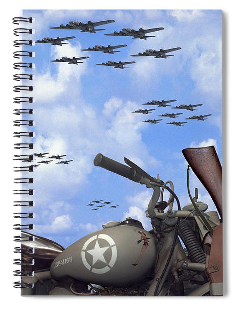 Ww2 Spiral Notebook featuring the photograph Indian 841 And The B-17 Panoramic by Mike McGlothlen