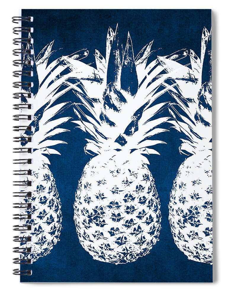 Indigo Spiral Notebook featuring the painting Indigo And White Pineapples by Linda Woods