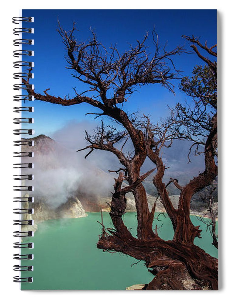 Crater Lake Spiral Notebook featuring the photograph Indonesia, Java, Kawah Ijen by Andreas Kunz