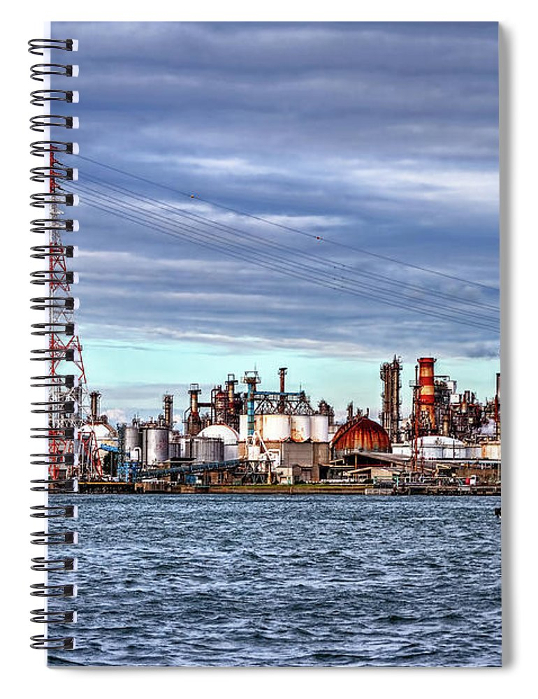 Manufacturing Equipment Spiral Notebook featuring the photograph Industrial View by Uemii