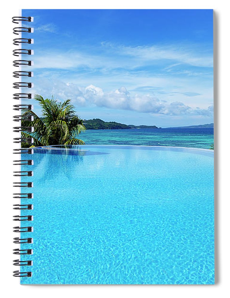 Scenics Spiral Notebook featuring the photograph Infinity Swimming Pool by 35007