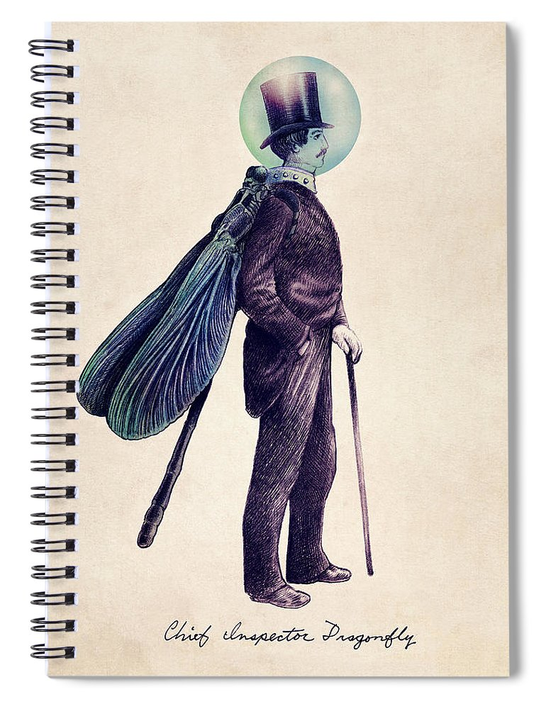 Vintage Spiral Notebook featuring the drawing Inspector Dragonfly by Eric Fan
