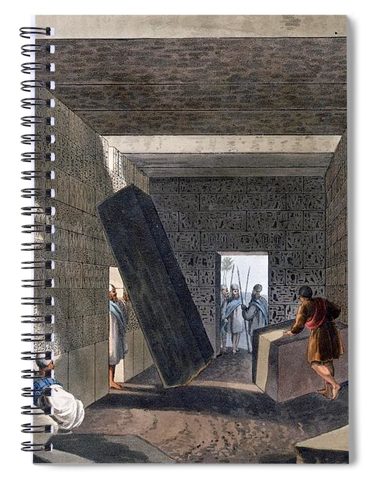 Interior Spiral Notebook featuring the drawing Interior Of The Temple Of Jupiter by Luigi Mayer