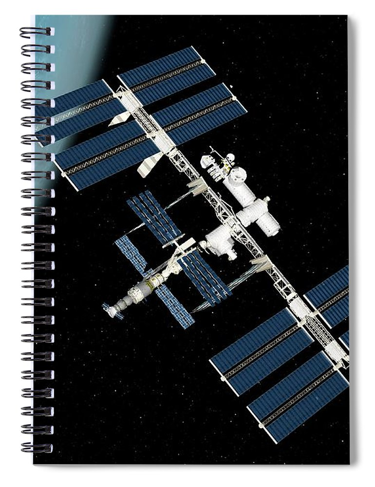 Technology Spiral Notebook featuring the digital art International Space Station, Artwork by Sciepro