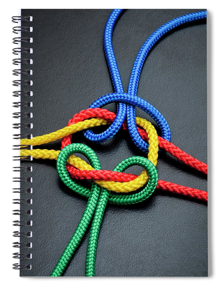 Teamwork Spiral Notebook featuring the photograph Intertwined Multicolored Ropes by Jorg Greuel