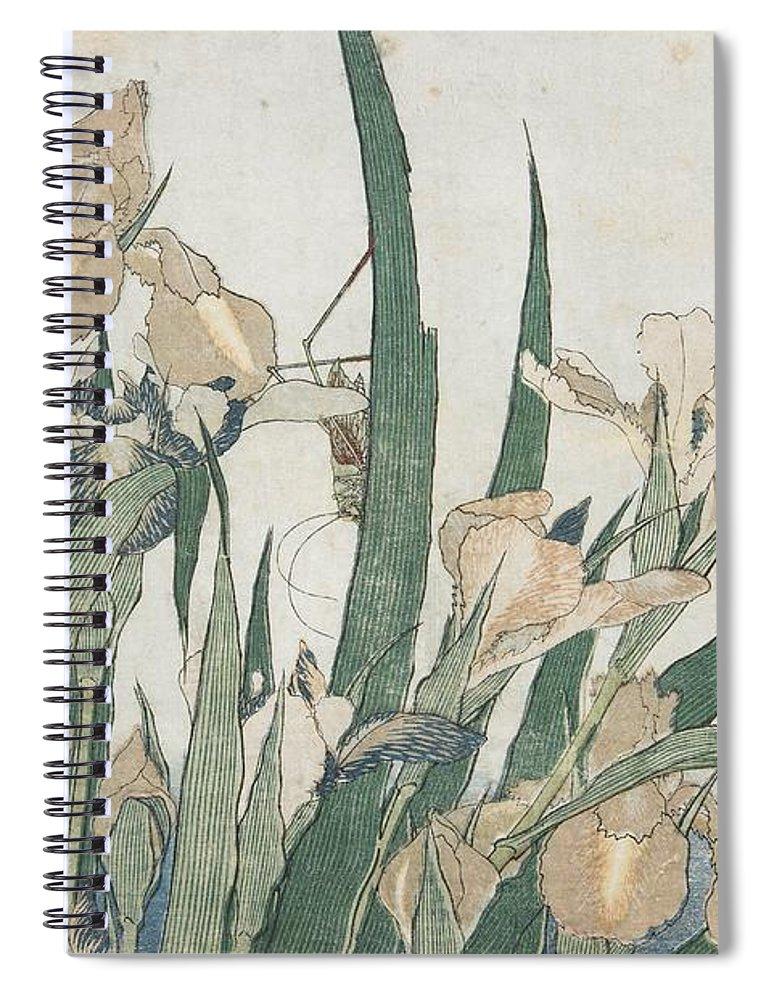 Iris Flowers And Grasshopper Spiral Notebook