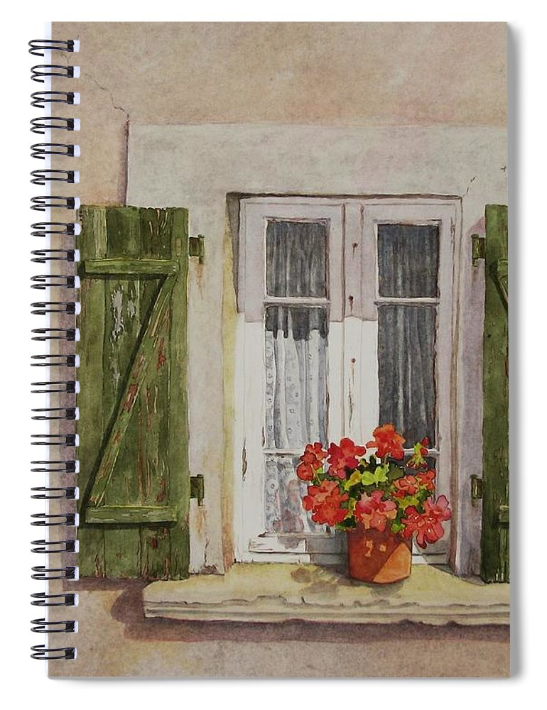 Watercolor Spiral Notebook featuring the painting Irvillac Window by Mary Ellen Mueller Legault