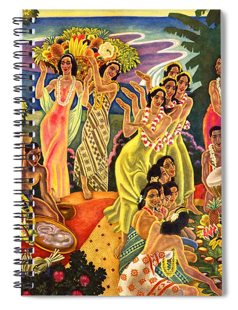 Hawaii Greeting Cards Spiral Notebook featuring the painting Island Feast by James Temple