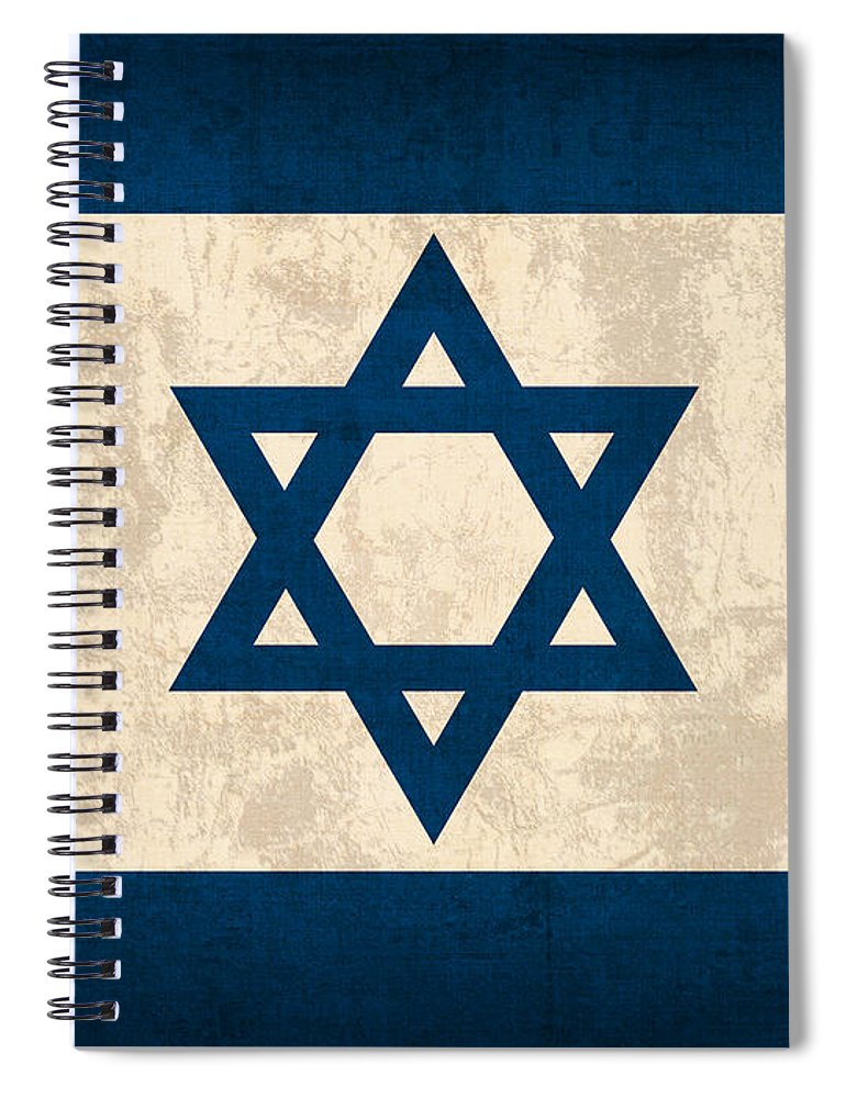 Israel Flag Vintage Distressed Finish Spiral Notebook featuring the mixed media Israel Flag Vintage Distressed Finish by Design Turnpike