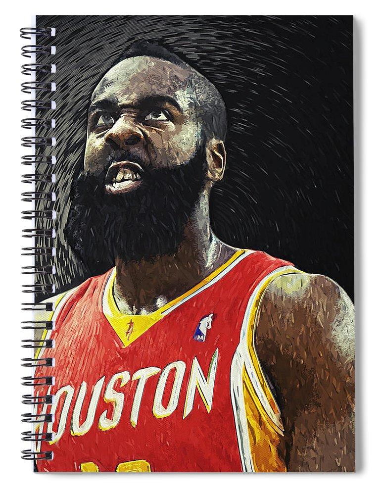 James Harden Spiral Notebook featuring the digital art James Harden by Zapista OU