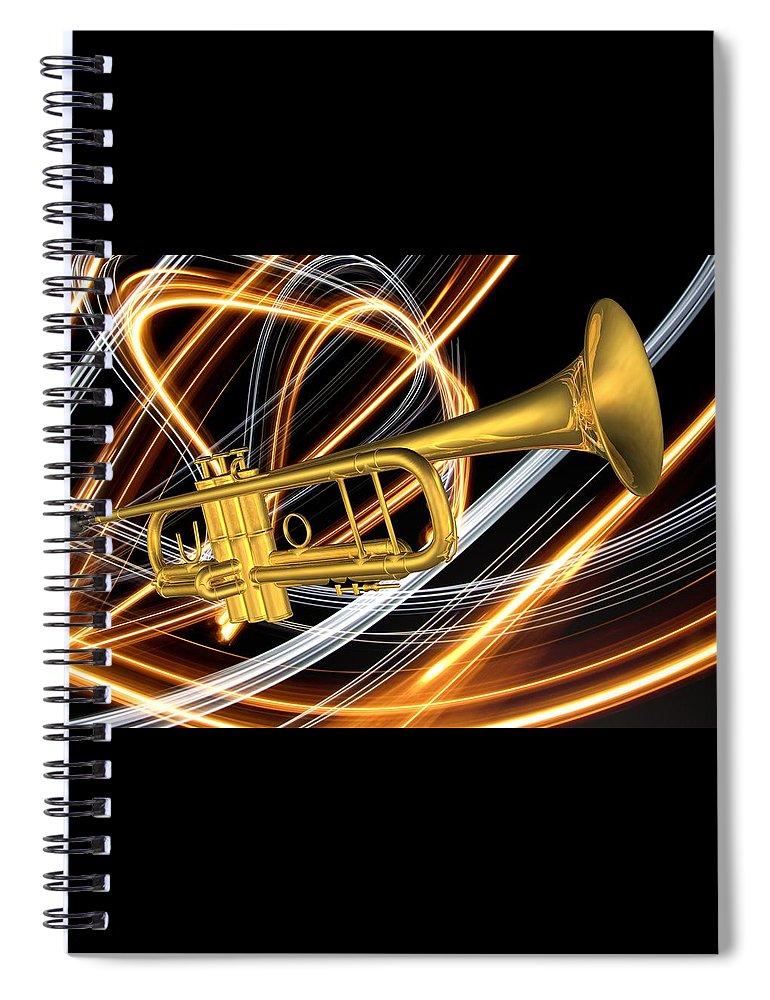 Art Spiral Notebook featuring the digital art Jazz Art Trumpet by Louis Ferreira