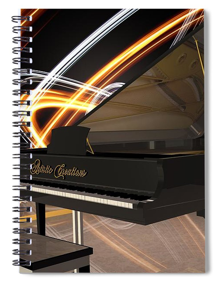 Jazz Spiral Notebook featuring the digital art Jazz Piano Bar by Louis Ferreira