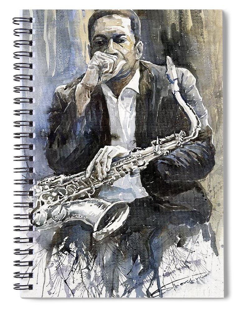 Jazz Spiral Notebook featuring the painting Jazz Saxophonist John Coltrane yellow by Yuriy Shevchuk