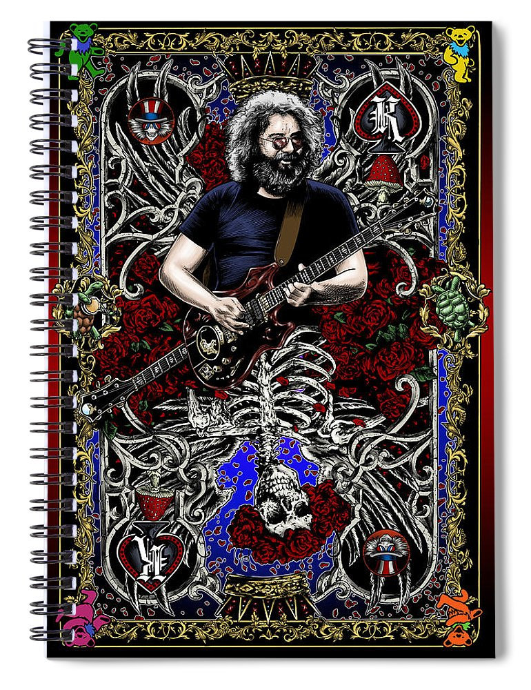 Jerry Garcia Spiral Notebook featuring the drawing Jerry Card by Gary Kroman