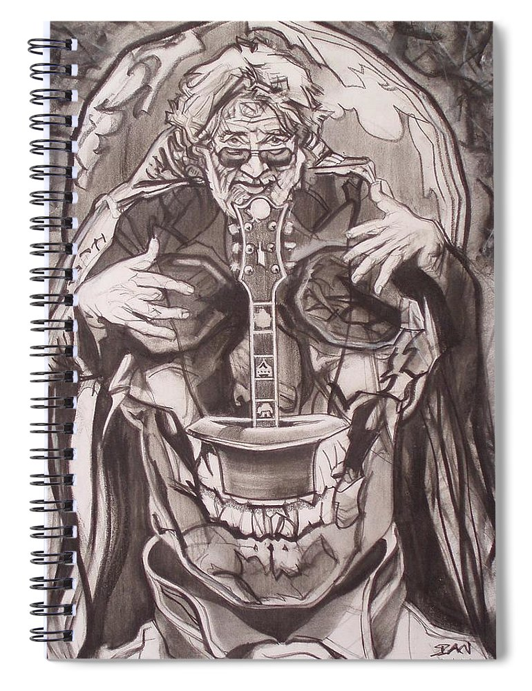 Charcoal Spiral Notebook featuring the drawing Jerry Garcia . . Magic Is What We Do - Music Is How We Do It by Sean Connolly