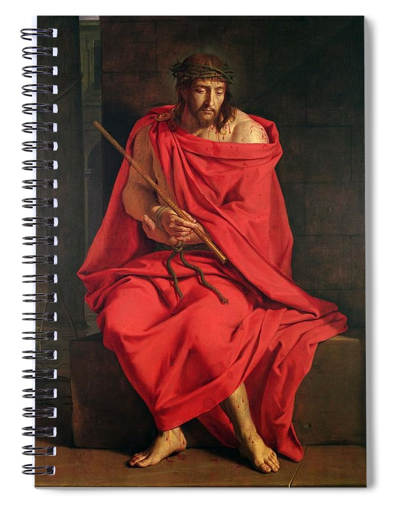 Male Spiral Notebook featuring the photograph Jesus Mocked Oil On Canvas by Philippe de Champaigne