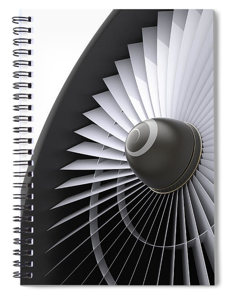 Engine Spiral Notebook featuring the photograph Jet Turbine by Klenger