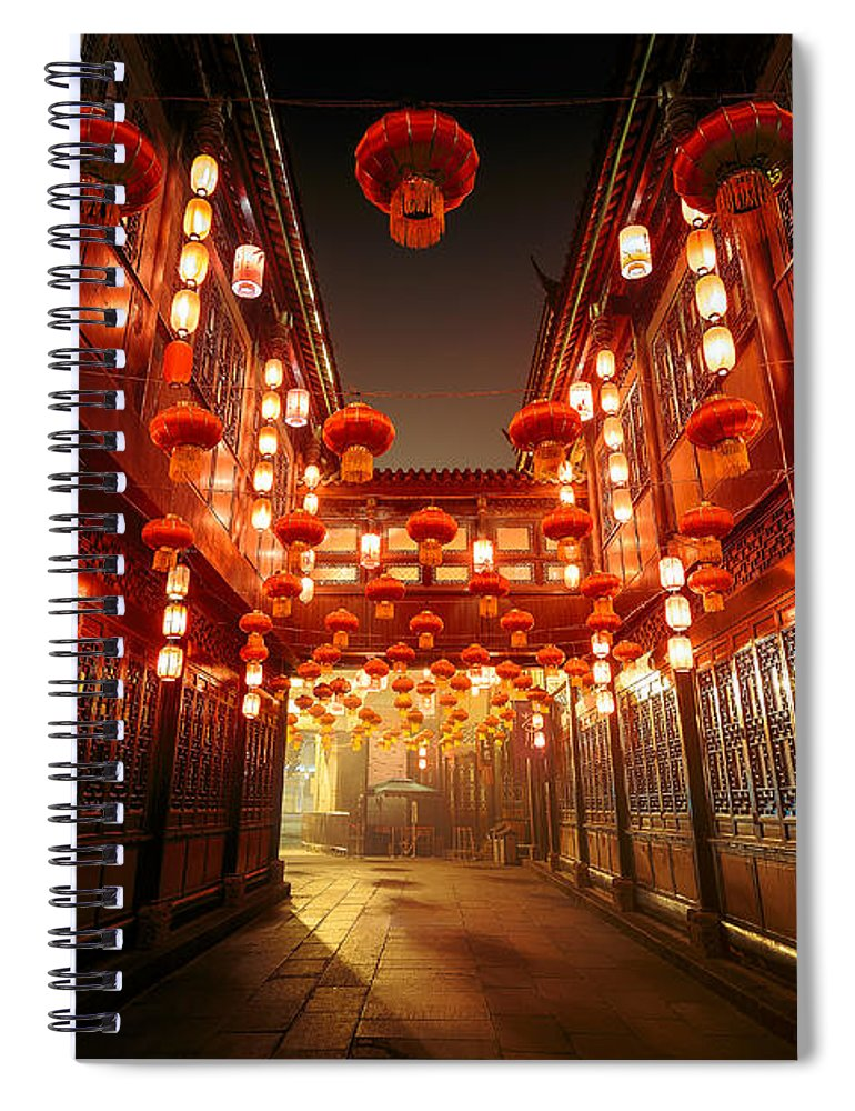 Chinese Culture Spiral Notebook featuring the photograph Jinli Street, Chengdu, Sichuan, China by Kiszon Pascal