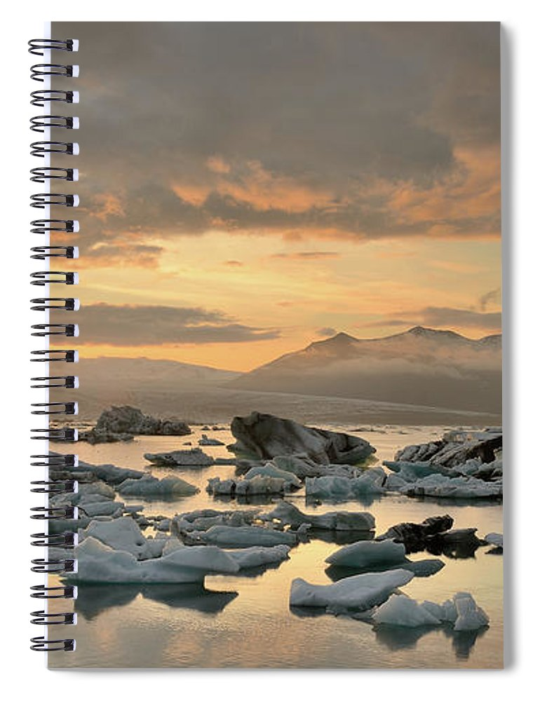 Scenics Spiral Notebook featuring the photograph Jökulsárlón by Andreas Jones
