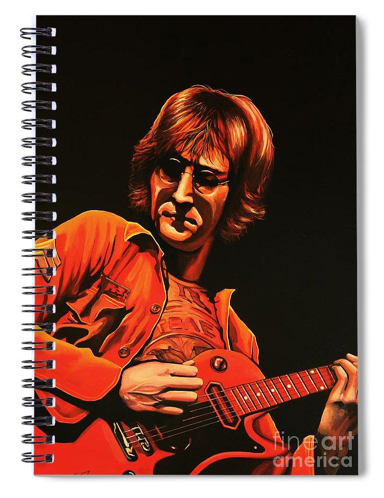 John Lennon Spiral Notebook featuring the painting John Lennon Painting by Paul Meijering