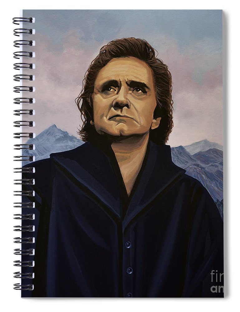 Johnny Cash Spiral Notebook featuring the painting Johnny Cash Painting by Paul Meijering