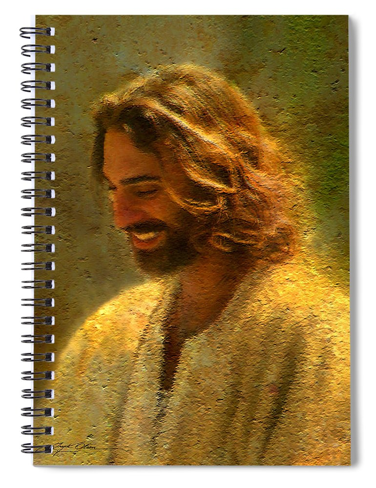 Jesus Spiral Notebook featuring the painting Joy of the Lord by Greg Olsen