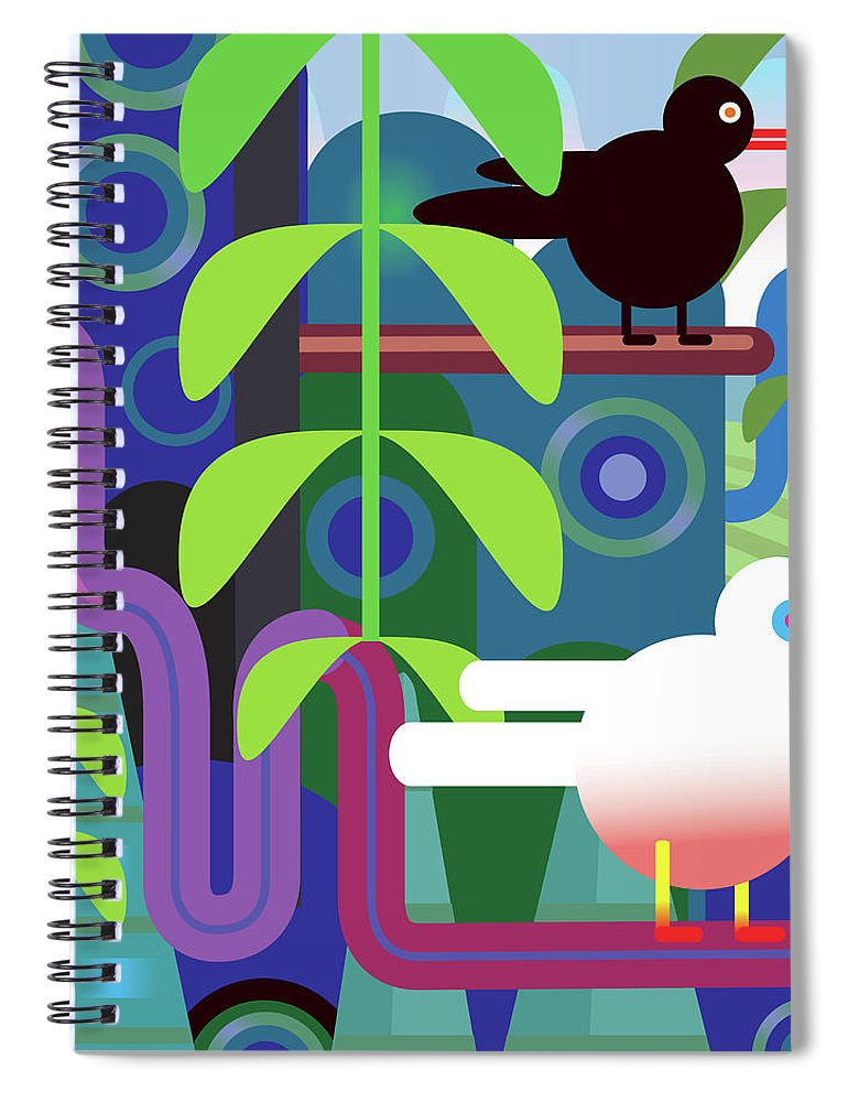 Pets Spiral Notebook featuring the digital art Jungle Vector Illustration With Birds by Charles Harker