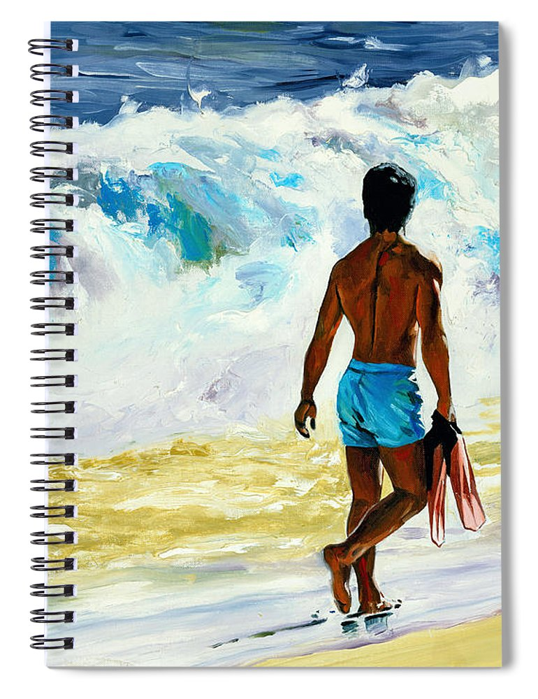 Ka Nalu Spiral Notebook featuring the painting Ka Nalu by Douglas Simonson