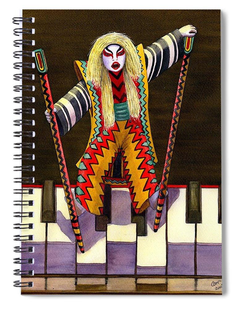 Kabuki Spiral Notebook featuring the painting Kabuki Chopsticks 2 by Catherine G McElroy
