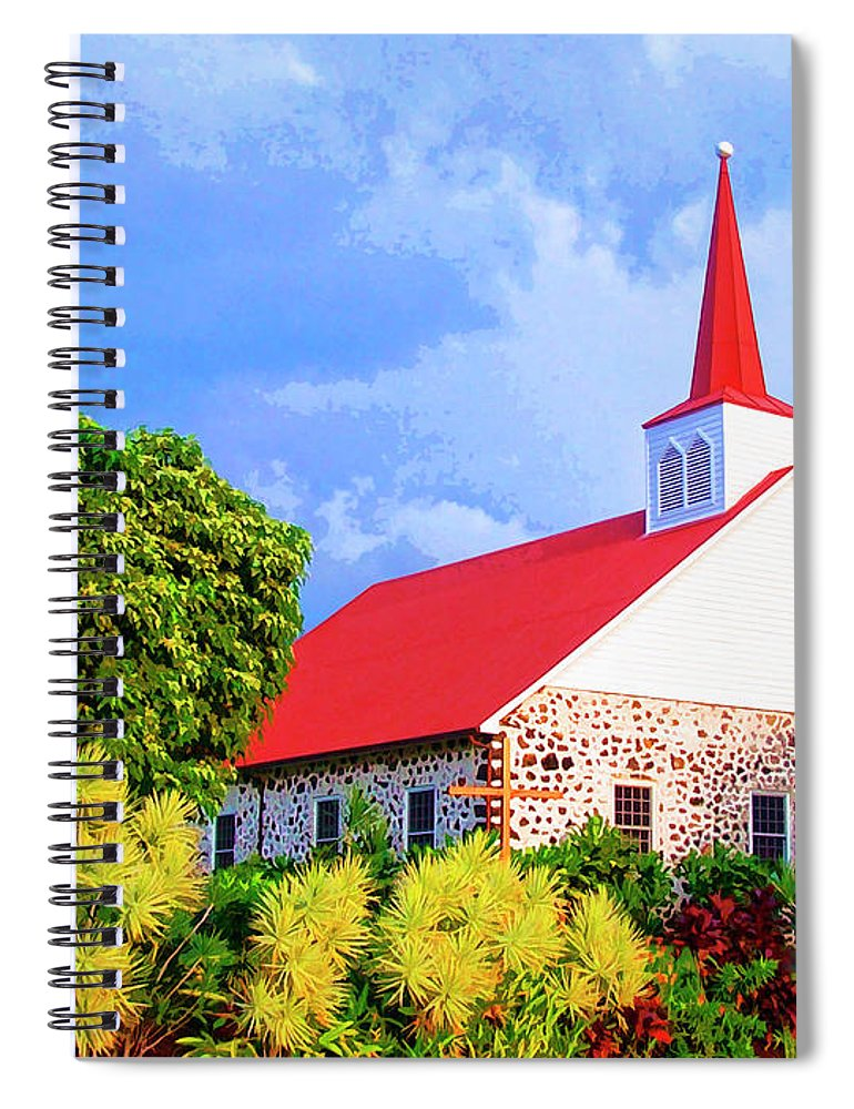 Kahikolu Congregational Spiral Notebook featuring the mixed media Kahikolu Congregational by Dominic Piperata