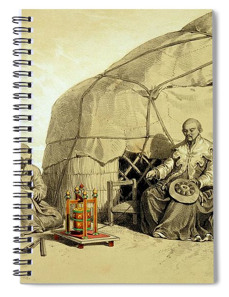 Kalmuk Spiral Notebook featuring the drawing Kalmuks With A Prayer Wheel, Siberia by Francois Fortune Antoine Ferogio