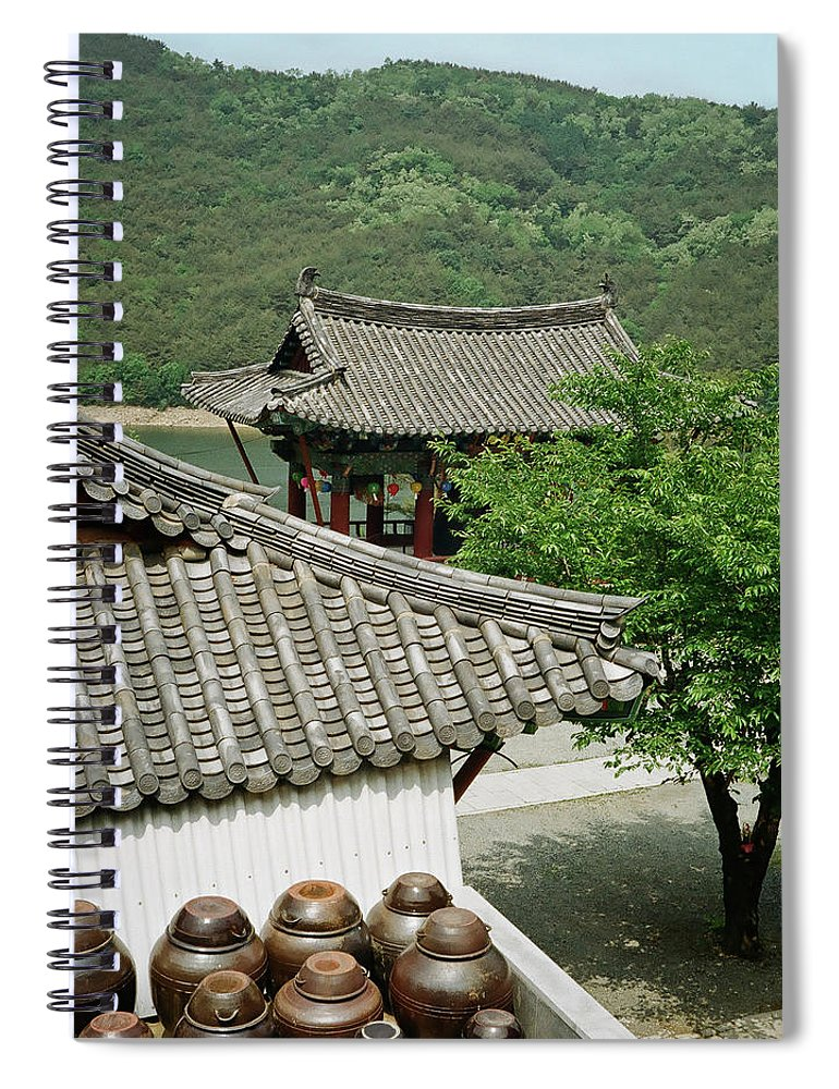 Tranquility Spiral Notebook featuring the photograph Kimchi Pots, Tiles And Lanterns by Mimyofoto - Serge Lebrun
