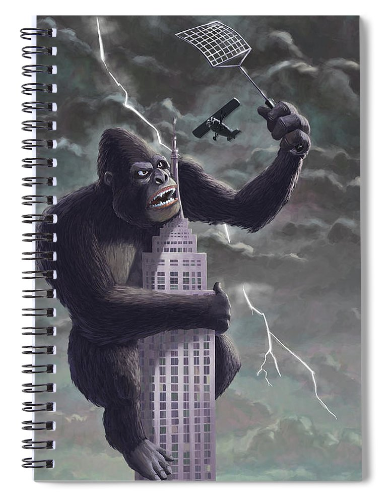 Kong Spiral Notebook featuring the painting King Kong Plane Swatter by Martin Davey