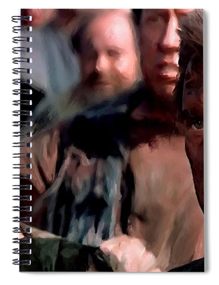 Spartacus Spiral Notebook featuring the digital art Kirk Douglas and Tony Curtis in the film Spartacus by Gabriel T Toro
