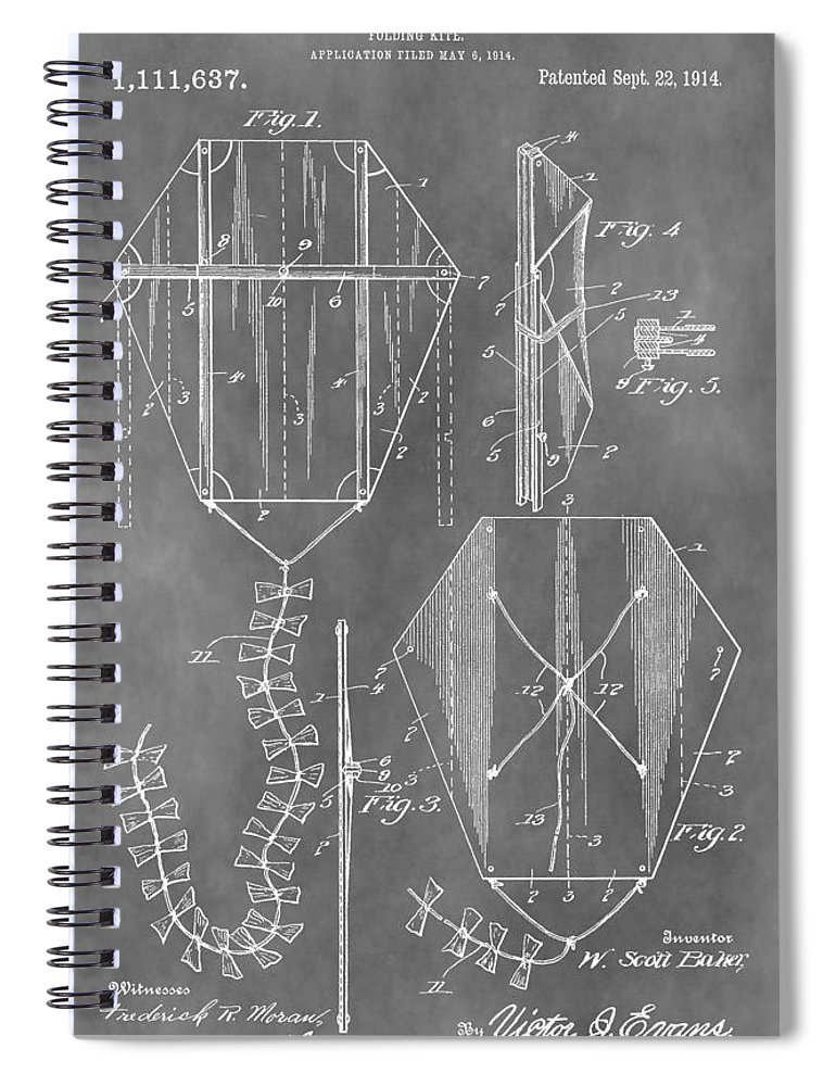 Vintage Kite Patent Spiral Notebook featuring the mixed media Kite Patent by Dan Sproul