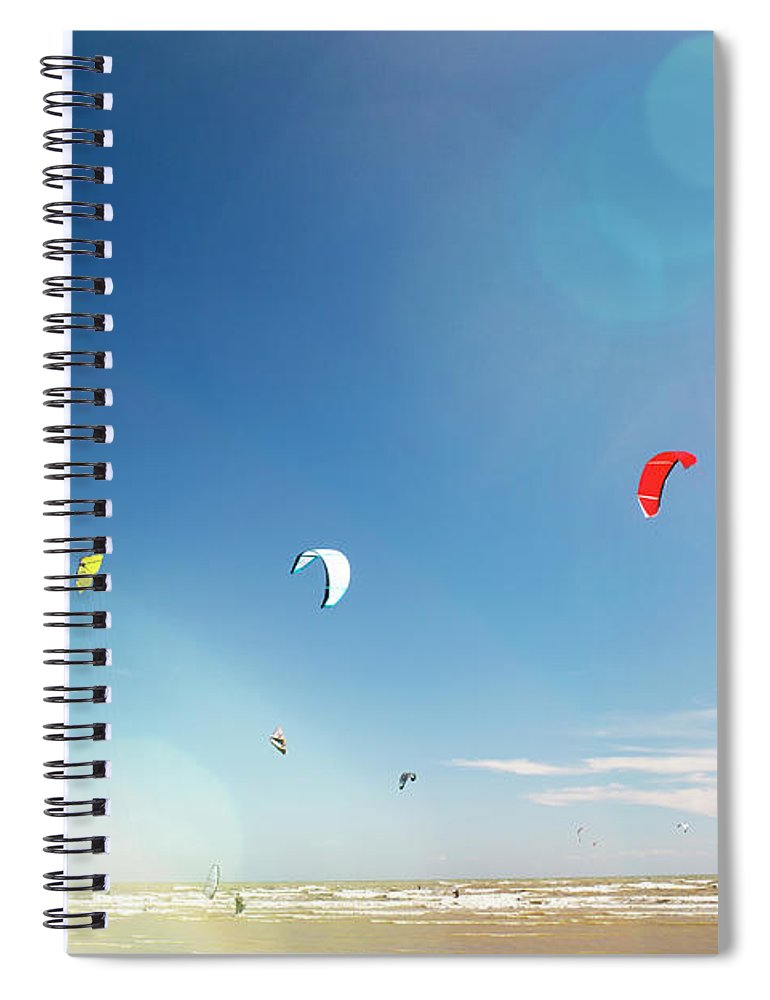 Water's Edge Spiral Notebook featuring the photograph Kite Surfers by Nick David