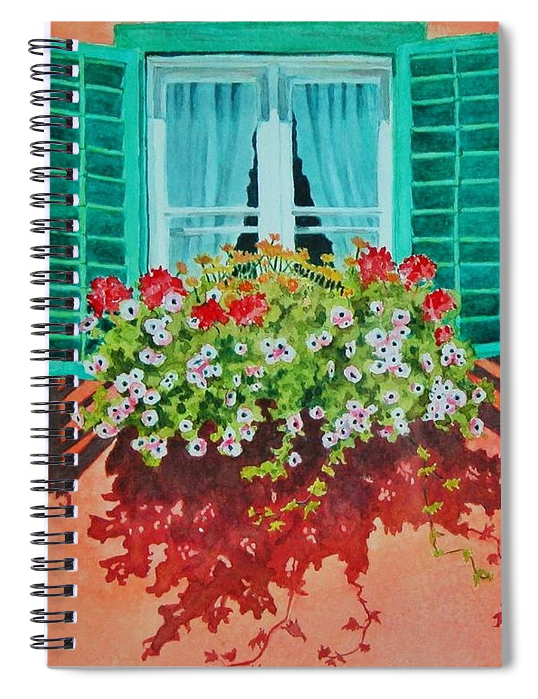 Window Box Spiral Notebook featuring the painting Kitzbuhel Window by Mary Ellen Mueller Legault