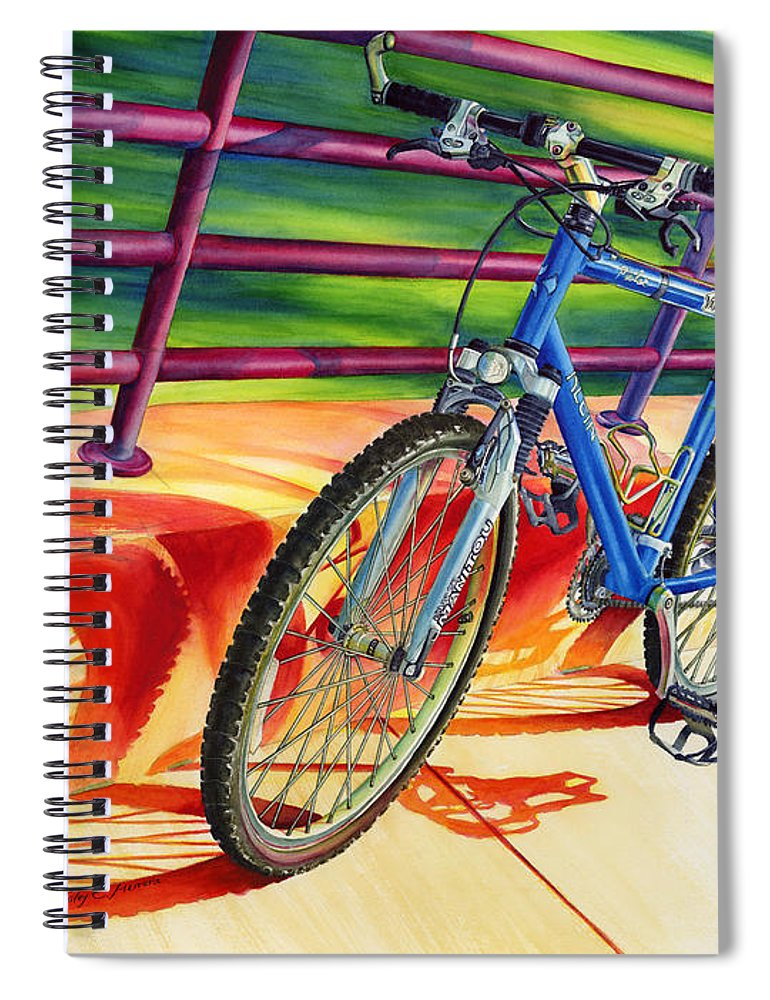 Bicycle Spiral Notebook featuring the painting Klein Pulse Comp by Hailey E Herrera