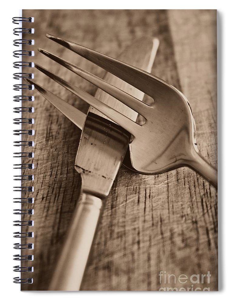 Knife Spiral Notebook featuring the photograph Knife And Fork by Clare Bevan