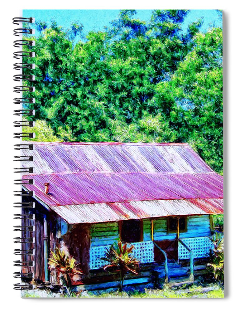 Kona Coffee Shack Spiral Notebook featuring the painting Kona Coffee Shack by Dominic Piperata
