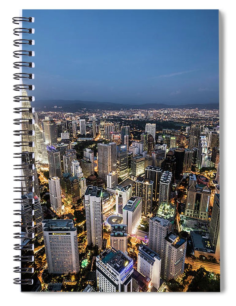 Built Structure Spiral Notebook featuring the photograph Kuala Lumpur Skyline At Dusk,elevated by Martin Puddy