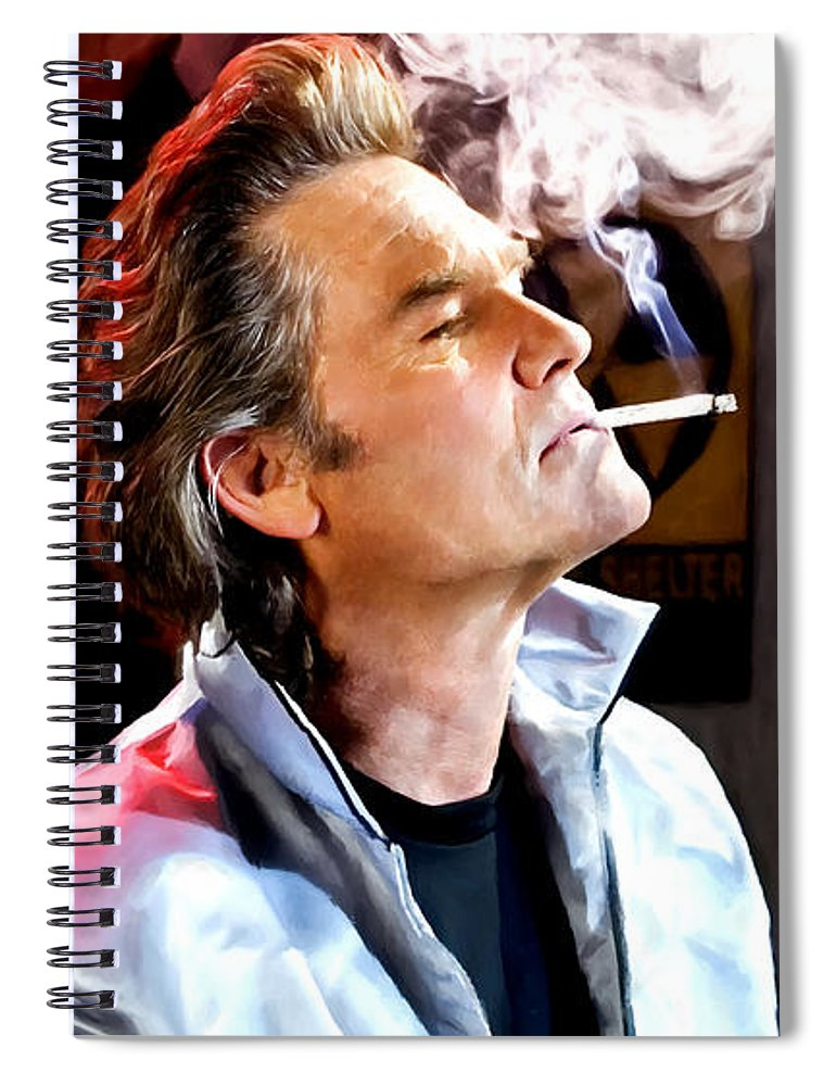 Death Proof Spiral Notebook featuring the digital art Kurt Russell @ Death Proof by Gabriel T Toro