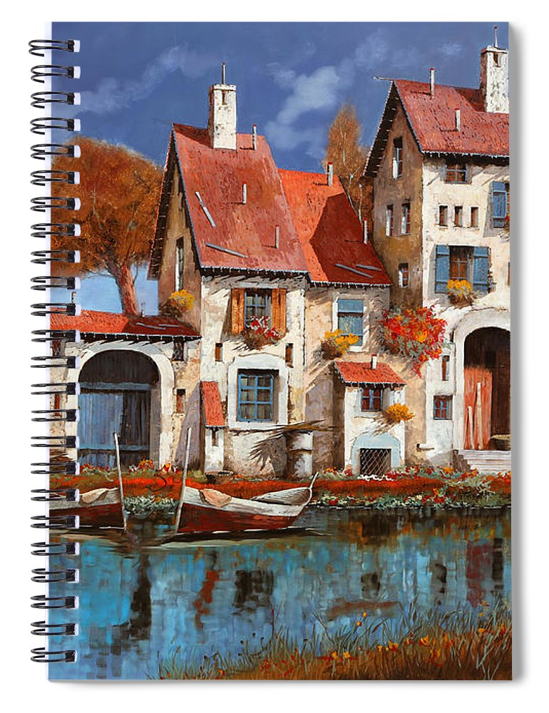 Little Village Spiral Notebook featuring the painting La Cascina Sul Lago by Guido Borelli
