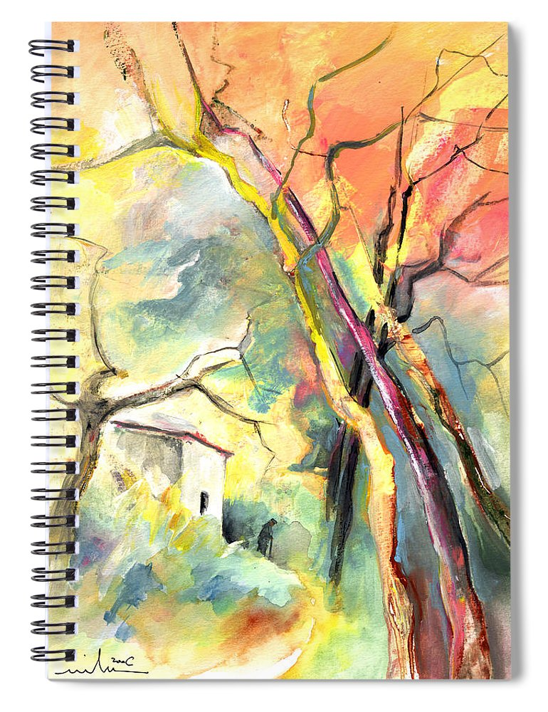 Landscapes Spiral Notebook featuring the painting La Casita 03 by Miki De Goodaboom