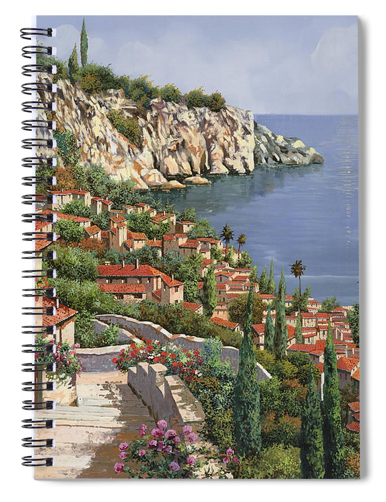 Seascape Spiral Notebook featuring the painting La Costa by Guido Borelli